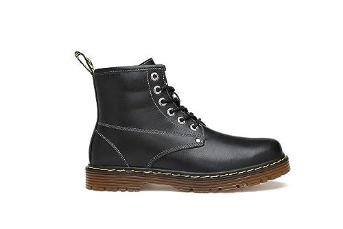 YFF Cuero auténtico cálido Invierno Botines para Hombres Ronda Toe Lace-Up,Negro sin Pelo,12.5: Amazon.es: Zapatos y complementos