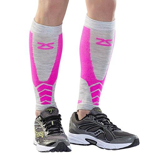 Zensah Fastwool Running Compression Leg Sleeve, Large, Neon Pink