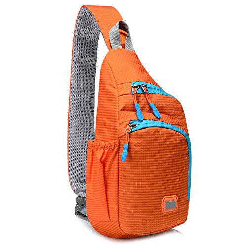 Buckle Sling - Outdoor Chest Sling Shoulder Bag, Lecxci [Ultra-lightweight Waterproof Nylon] [Hiking Cycling Camping Travel] Sling Shoulder Chest Daypack Backpack Bag for Man / Women / College Teen Girls(Orange)