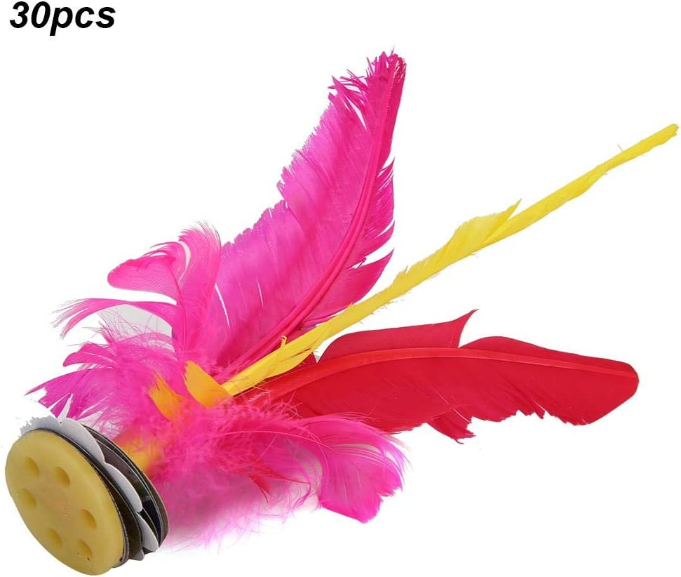VGEBY 30Pcs Kick Shuttlecock Colorful Chinese Jianzi for Foot Sports Outdoor Exercise Game Feather Kicking Shuttlecock