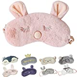 Cute Sleeping Eye Mask Plush Blindfold Travel Sleep Masks Super Soft Eye Cover for Kids Girls and Adult (D-Pink rabbit)