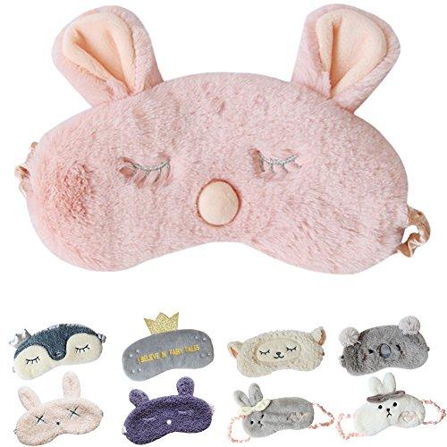Cute Sleeping Eye Mask Plush Blindfold Travel Sleep Masks Super Soft Eye Cover for Kids Girls and Adult (D-Pink rabbit) by Lesirit
