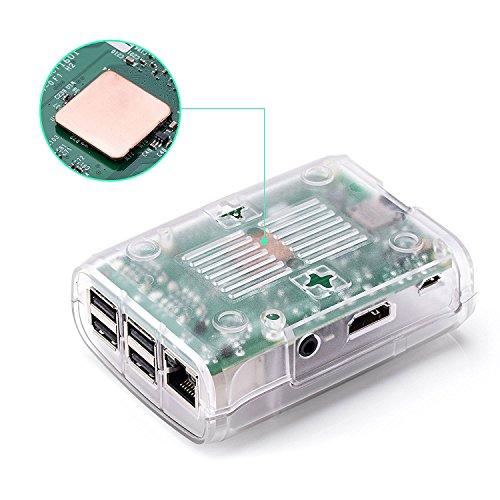 Raspberry Pi 3 Fan Case, Aukru Clear Case with Cooling Fan Heatsink for Raspberry Pi 3 Model B Accessories Pi 2 Model B + Desktop Starter Kit (Transparent Case, Cooling Fan, Heat sink) by Aukru (Image #7)