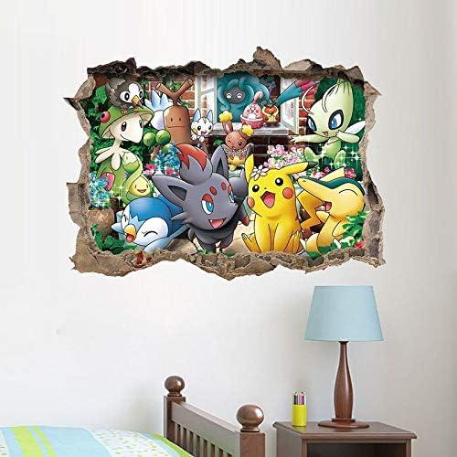 Kibi 2PCS Stickers Muraux Pok/émon Pikachu Autocollant Mural pour Chambre Enfants B/éb/é D/écoration Murale Pok/émon Pikachu Peel et Stick Stickers Muraux Autocollant Pokemon Sticker Mural Pokemon 3D
