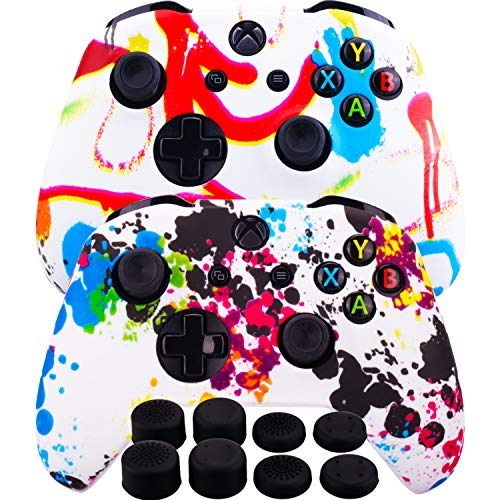 MXRC Silicone Rubber Cover Skin Case Anti-slip Water Transfer Customize Camouflage for Xbox One/S/X Controller x 2(Paint Pack) + FPS PRO Extra Height Thumb Grips x 8