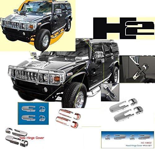 Hummer H2 H2 H 2 Chrome Hood Scharnier Seitendeckel Abdeckung Au/ßen ABS-Form Trim Set 2006 2007 2008 2009