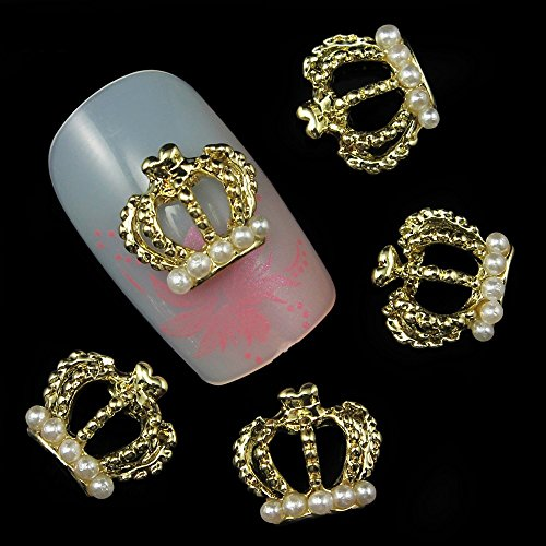 (20pcs/pack Pearl Crown Metal 3d Nail Art Decorations Alloy Nail Stickers Charms Jewelry for Nail Gel/Polish Tools Scrapbook Decoration)