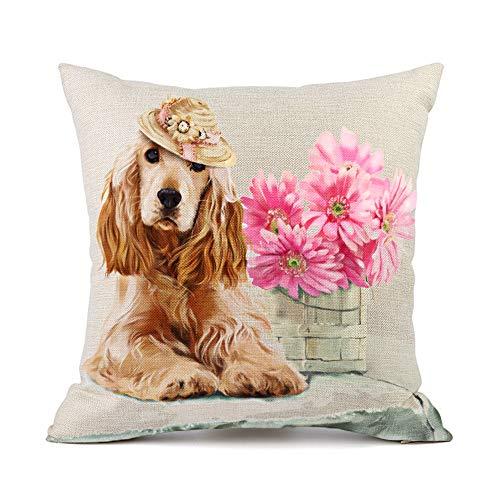 Moyun Golden Retriever Dog Pink Flowers Pattern Cotton Linen Throw Pillowcase Cushion Covers Car Sofa Home Decor 45 x 45 cm