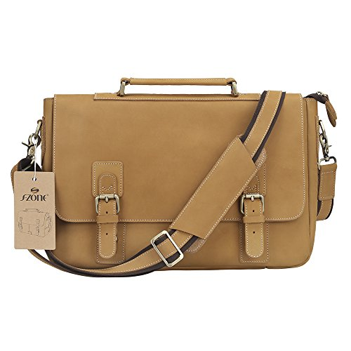S-ZONE Men's Crazy-Horse Leather Business Briefcase Shoulder Laptop Bag by S-ZONE