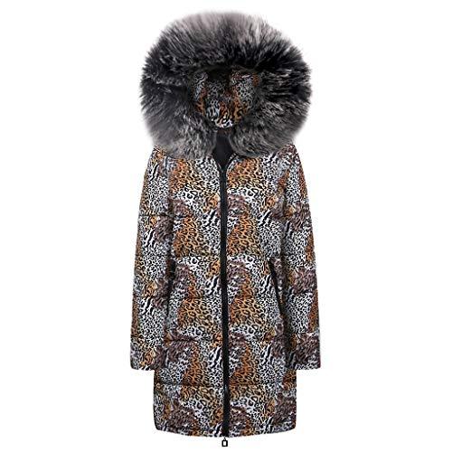 TnaIolr Womens Winter Long Down Cotton Leopard Print