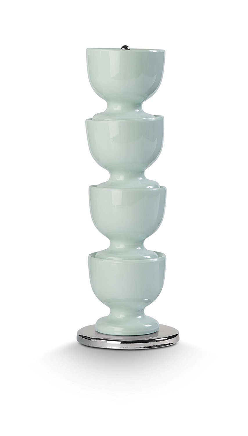 Stack of 4 melamine egg cups on a stainless steel stand BLUE