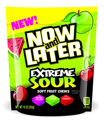 Fruit Extreme (Now & Later Extreme Sour Soft Taffy Chews Candy, Assorted Fruit Flavors, 10 Ounces)