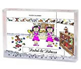 Personalized Friendly Folks Cartoon Snow Globe Frame Gift: Twin Sisters Great for room décor