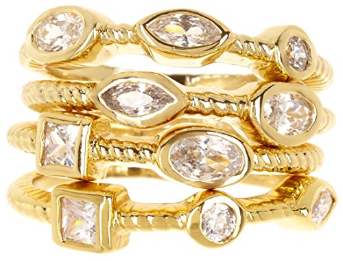 Gemaholique 14k Gold Clad CZ Wholesale Gemstone Jewelry Stackable Ring Set (Size 9) price tips cheap
