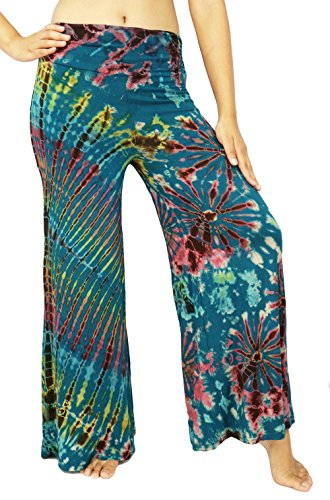 Design By Jingle Women's Casual Tie Dye Bohemian Hippie Wide Leg High Waist Palazzo Pants Plus Size. (Animal Morph Suits)