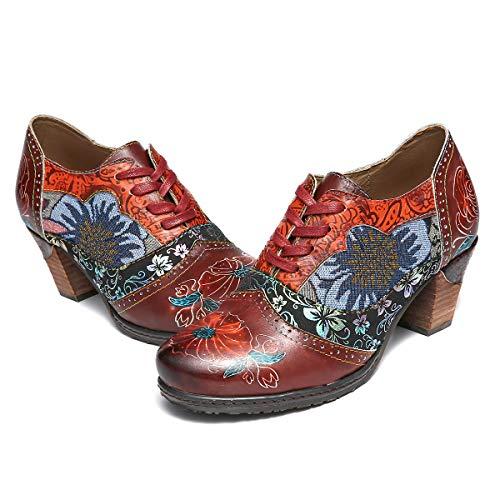 Boots nbsp;femmesBottines Hauts Mocassins Talons Rouge Ville Eté Lacets Printemps Originales En Cuir Confortable Chaussures nbsp;à Bohème Multicolore Gracosy Talons nbsp;de uTFKJc3l1