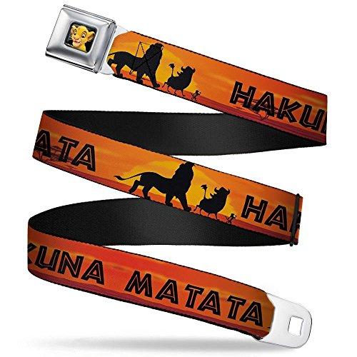 Buckle-Down Seatbelt Belt - Lion King HAKUNA MATATA Sunset Oranges/Black - 1.5