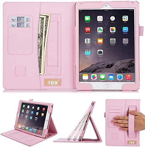 Fyy iPad Air Case, iPad Air Cover, [Luxurious Protection] Premium PU Leather Case Smart Auto Wake/Sleep Cover with Hand Strap, Card Slots, Pocket for iPad Air Rose Gold