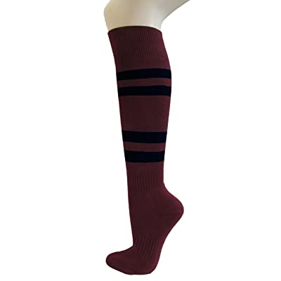 Couver Maroon Softball/Sports Striped Knee High Athletic Socks(1 Pair)
