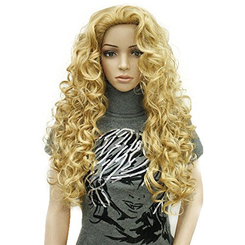 Aimole Long Wavy Synthetic Wigs Black Women Full Wig 24B Light Butterscotch Butterscotch Handle