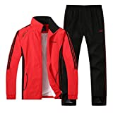 Modern Fantasy Men's Athletic Striped Tracksuit Joggers Sports Soccer Ball Style Sweatsuit Red L