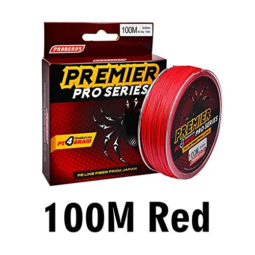 100M Red 0.12mm-8lb-3.6kg CUSHY 100M PRO BEROS Fishing Line Multicolor//Red//Green//Grey//Yellow// 4 Weaves Braided Fishing Line Available 6LB-100LB PE Line