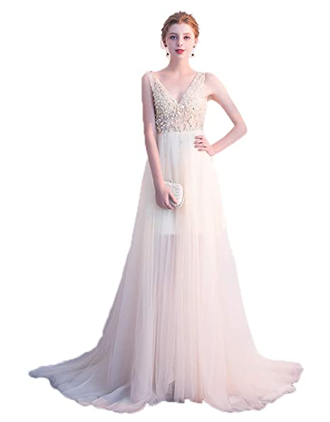 faa649b49d6 Huifany Girl s A Line Long Prom Dress Tulle Beaded Empire Waist Formal  Evening Party Gown Beige