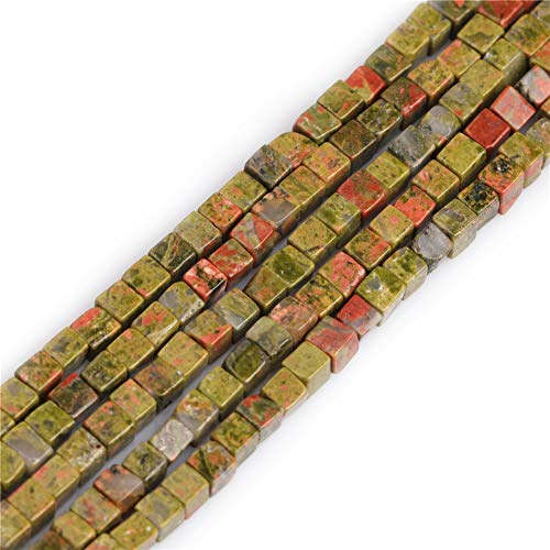 GEM-inside 4mm Natural Unakite Jasper Stone Semi Precious Square Healing Beads Green for Jewelry Making DIY Handmade Craft Supplies 15