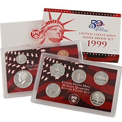 - 1999 S United States Mint Silver Proof Set Gem Uncirculated