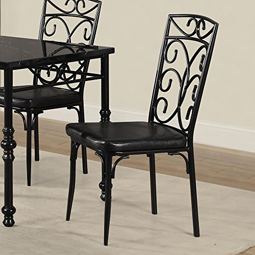 Metal Leatherette Black (Metal Based Dining Chair With Leatherette Seat, Set Of 2,Black)