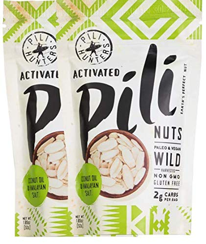 Pili Hunters Wild Sprouted Pili Nuts with Coconut Oil and Himalayan Salt, Paleo, Keto, Vegan, Low Carb, 1.85 oz. Bags - 2-pack