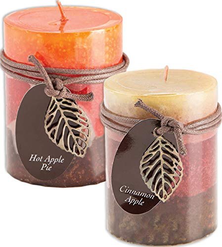 Fall Scented Candles Set Bundle of 2 Decorative Layered Pill
