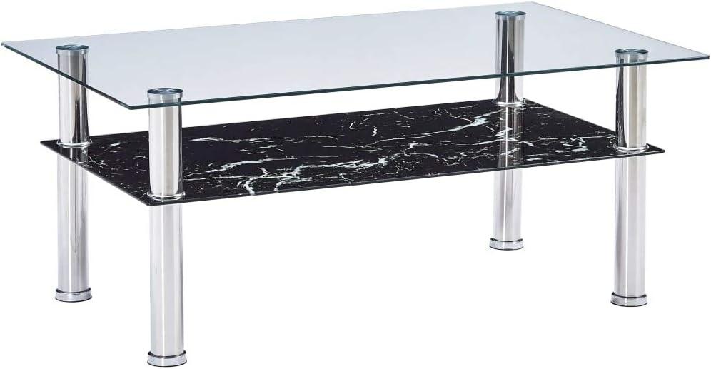 2020 Nieuwste Tidyard salontafel voor de woonkamer   salontafel van gehard glas in marmer-look, zwart, 100 x 60 x 42 cm Aspect de Marbre Blanc Aspect de Marbre Noir IOqkRNQ
