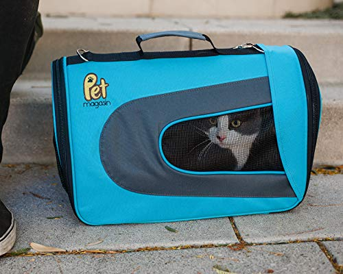 Travel Carrier Pet Magasin Soft-Sided (Airline Approved) for Cats, Small Dogs, Puppies and Other Pets by (Large, Blue)
