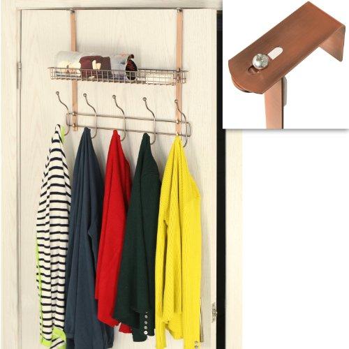 Adjustable Width Over the Door Bronze Metal Clothing Rack / 10 Dual Coat Hanger Hooks w/ Storage Basket