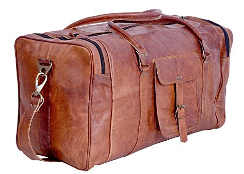 Brown Leather Travel Duffel Bag for Men & Women
