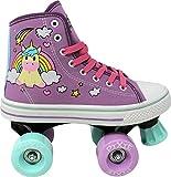 Lenexa Roller Skates for Girls - Pixie Unicorn Kids Quad Roller Skate - Indoor, Outdoor, Derby Children's Skate - Rollerskates Made for Kids - High Top Sneaker Style - Great for Beginner
