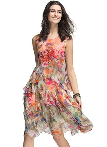 Floryday Women's Silk Floral Sleeveless Knee-Length Vintage dress (XL) (Dress Sleeveless Floral Silk)