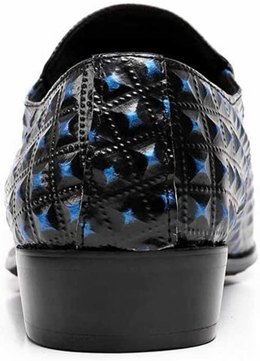 GLSHI Men Patent Leather Fashion Oxford Pointed Shoes Blue Breathable Casual Walking Shoes