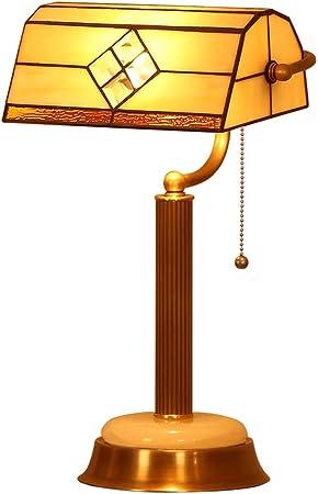 Lámpara de Mesa Tirar del Interruptor de la Cadena Decoración de Cristal de Color Tiffany Estilo E27 LED, Lámpara de mesilla de Noche de Estilo Europeo Pantalla de Vidrio para el: Amazon.es:
