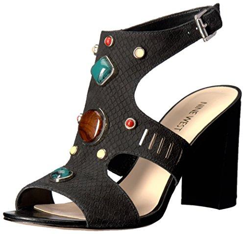 Nine West Women's Chervil Nubuck Dress Sandal, Black, 6.5 M US 25026188