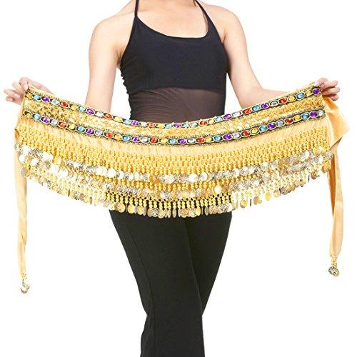 (Calcifer Handmade Egyptian Waist Chain Belly Dance Belt Wrap Hip Scarf Skirt Waistband with 248 Coins (Gold, One Size))