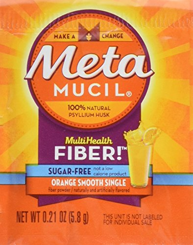 Metamucil - MultiHealth Fiber Singles Orange Smooth Sugar-Free, 0.21 Ounce, Pack of 30