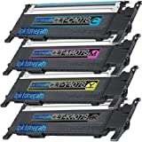 4 Replacement toner cartridges for Samsung CLP-320 Toner Cartridges CLP-320 CLT-K407S CLT-C407S CLT-M407S CLT-Y407S replacement for Samsung CLP-320 Black Cyan Magenta Yellow Combo Pack Set, Office Central