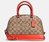 Coach's Sierra Satchel is wrapped in dual tone signature C printed PVC coated canvas with bright orange crossgrain leather trim and polished silver tone hardware. This midsized dome satchel lined interior features a zippered pocket and two open slip ...