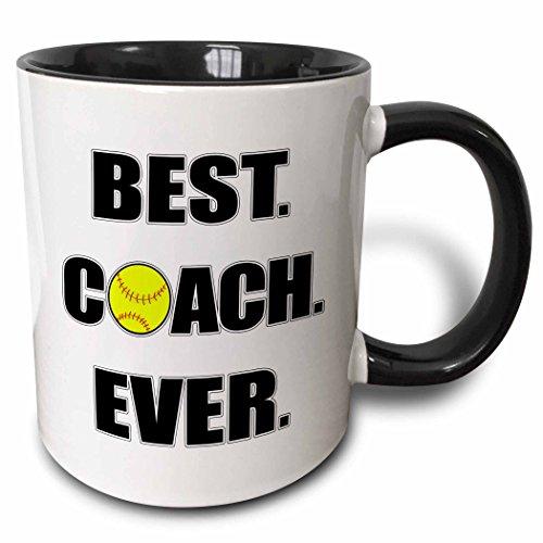 3dRose Softball Best Coach Ever Mug, 11 oz, Black (Coach Softball Gifts)