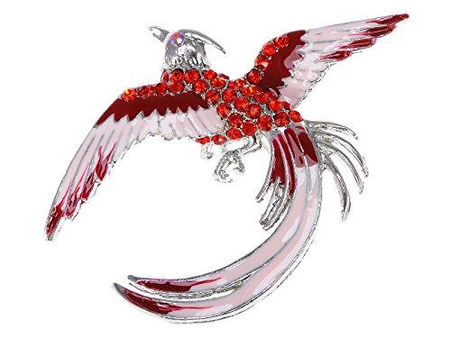 Alilang Red Rhinestone Crystal Enamel Flame Phoenix Fire Bird Resurrection Survivor Brooch Pin