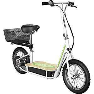Razor EcoSmart Metro Electric Scooter – Padded Seat, Wide Bamboo Deck, 16″ Air-Filled Tires, Rear-Wheel Drive