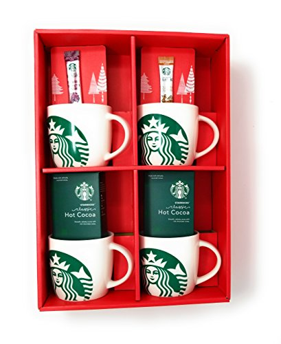 Starbucks Share The Cheer 4 14 Ounce Mugs, 2 Starbucks Via Packets, And 2 Classic Cocoa Packet Bundle (Starbucks Gift Sets Christmas)