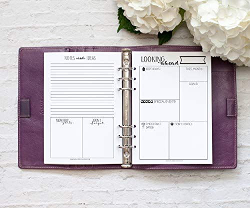 A5 Looking Ahead Monthly Reflection Insert, Six Hole Punched Refill, 1 Year Supply (Planner Not Included)